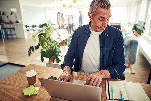 Mature businessman using a laptop an