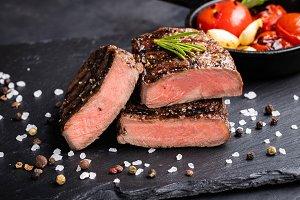 Close-up of steak Top Blade roasting