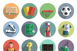 Soccer sport flat round icons set