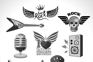 Rock and roll music emblems set