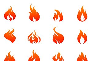 Fire silhouette flat icon set