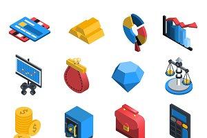 Financial icons isometric set