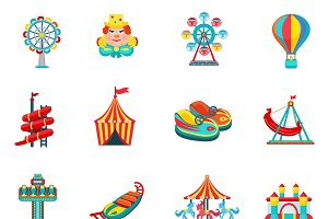 Amusement park icons set flat