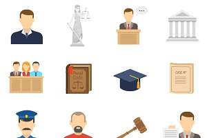 Criminal case proceeding icons set