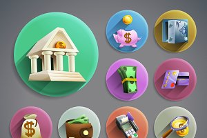 Banking business cartoon icons set