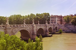 View of famous Sant Angelo Bridge