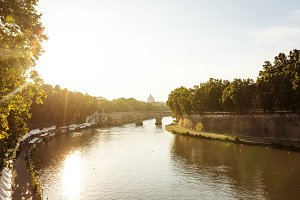 Tiber river at sunset
