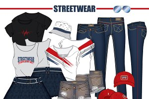 Women Streetwear Vector Fashion Set