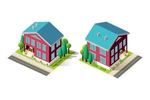 Isometric facade set red houses