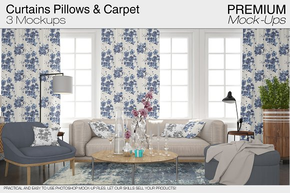 Pillows Curtains & Carpet Set