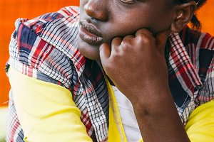 Pensative ethiopian woman
