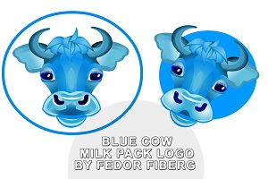 Blue Cow logo for milk pack vector