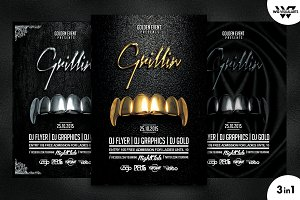 GOLD GRILLZ Flyer Template