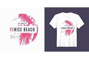 Venice beach. T-shirt design.
