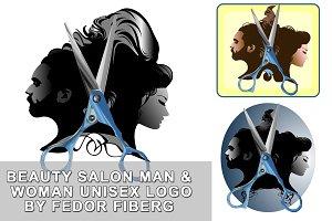 Beauty salon man & woman unisex logo