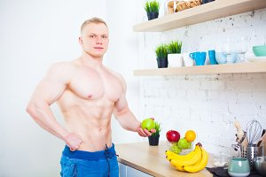 Muscular man with a bare torso in