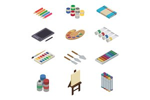 Artist tools vector watercolor with