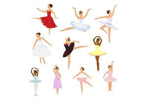 Ballet dancer vector ballerina woman