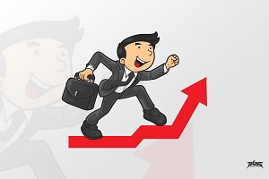 Businessman Cartoon Arrow Up