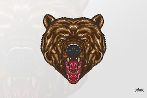 Fierce Bear Head Vector