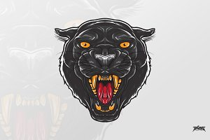 Fierce Black Panther Head Vector