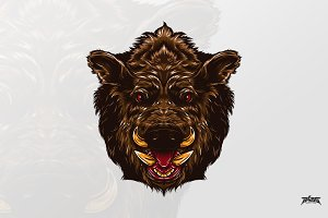 Fierce Boar Head Vector