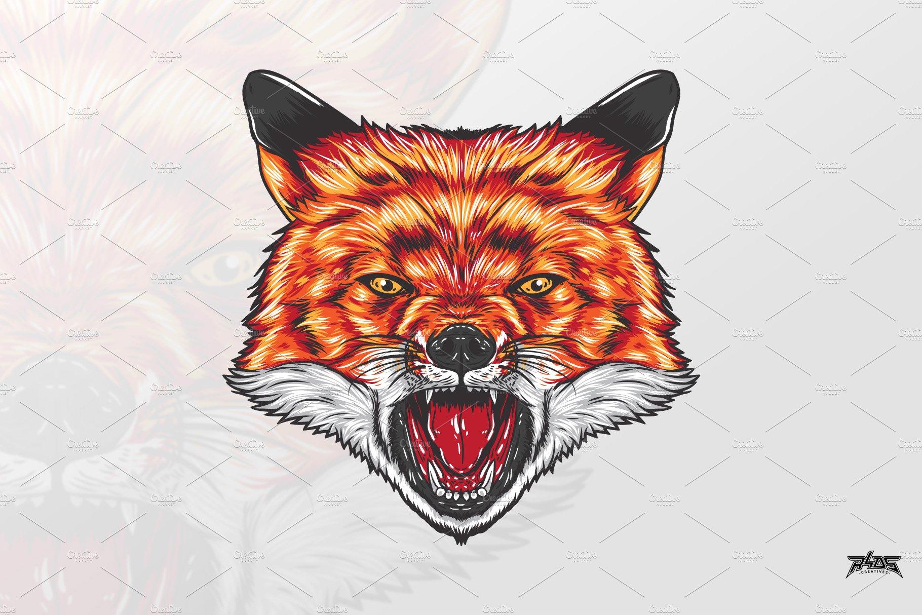 Fierce Fox Head Vector Pre Designed Illustrator Graphics Creative Market