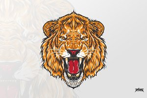 Fierce Lion Head Vector