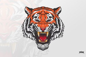 Fierce Tiger Head Vector