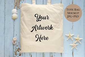 Tote Bag Mockup - Summer shells