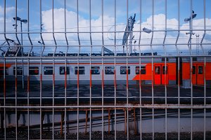 Russian railway train through jail f