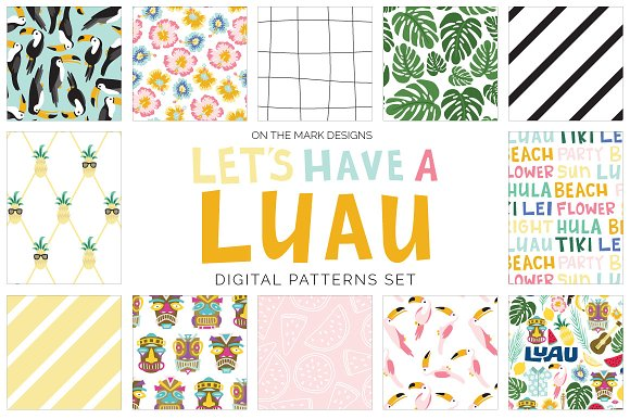 Tropical Luau Digital Pattern Set
