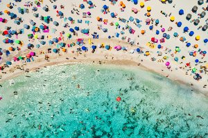 Aerial view of sandy beach and sea