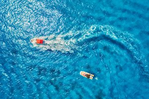 Aerial view of floating motorboat