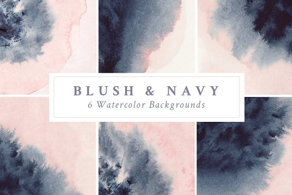 Blush & Navy Watercolor Backgrounds
