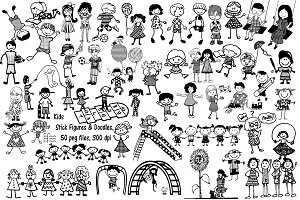 Kids Stick Figure Doodles AI EPS PNG