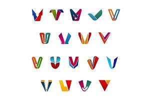 Letter V vector icons for business