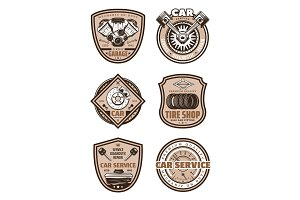 Car garage service vector icons