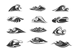 Vector icons set of ocean waves