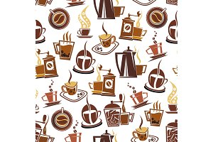 Vector seamless pattern of coffee