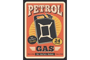 Vector retro poster of gas jerrycan