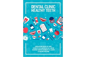 Dental health clinic vector poster