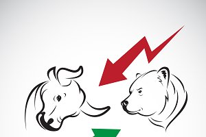 Bull and bear symbols of stock marke