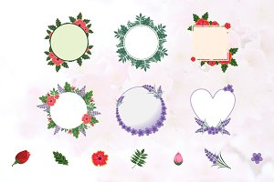 Flower Wreath Frame Flat Floral Set