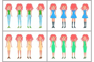 Women in dresses and jeans vector
