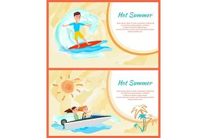 Hot Summer Cards Set, Framed Vector