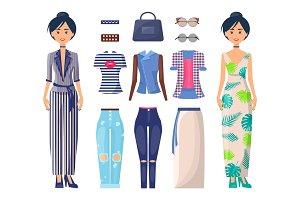 Stylish Girls Set Summer Mode
