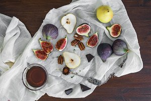 Figs, chocolate, pears, pekan nuts