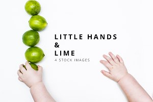 Lime and Baby Hands Stock Photo