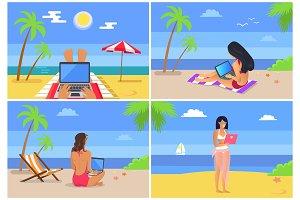 People at Seaside Freelance Vector